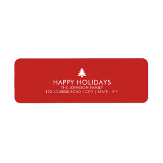 Personalized Christmas Tree Holiday Return Address Label