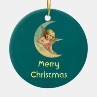 Personalized Christmas Vintage Angel on the moon Round Ceramic Decoration
