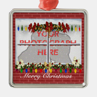 Personalized Christmas window photograph frame Christmas Ornament
