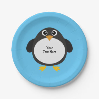 Personalized Chubby Penguin Paper Plate