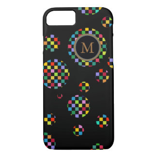 personalized circles of squares on black iPhone 7 case