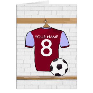 Personalized Claret Blue Football Soccer Jersey Card