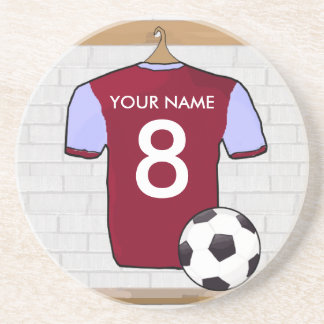 Personalized Claret Blue Football Soccer Jersey Coaster