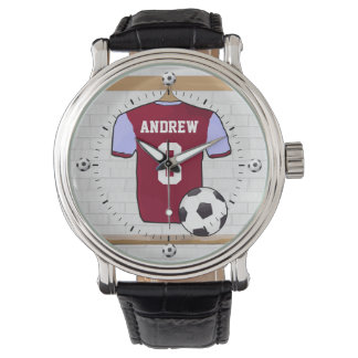 Personalized Claret Blue Football Soccer Jersey Watch