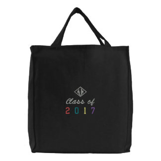 Personalized Class of 2017 Graduation Monogram Embroidered Tote Bag