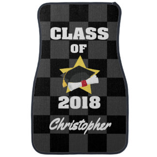 Personalized Class of 2018 Cap and Diploma Checker Car Mat