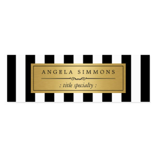 Personalized Classic Black White Stripes Mini Double-Sided Mini Business Cards (Pack Of 20)