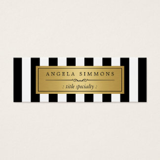 Personalized Classic Black White Stripes Mini Mini Business Card