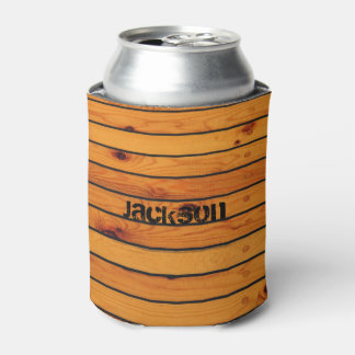 Personalized classic brown wooden shipdeck can cooler