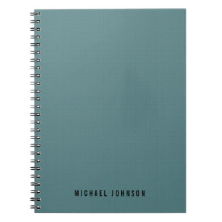 Personalized Classic Faux Linen Smalt Blue Note Book