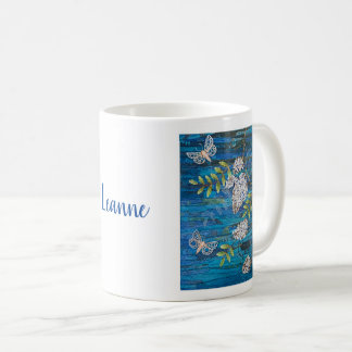Personalized Classic Mug with Night Moths & Flower