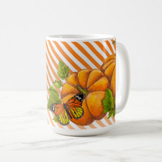 Personalized Classic Mug with Pumpkins and Stripes