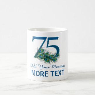 Personalized classy 75th birthday number 75 mug