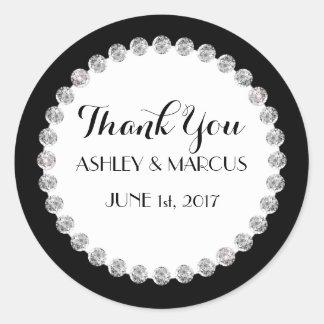 Personalized Classy Wedding Black & White Diamonds Round Sticker