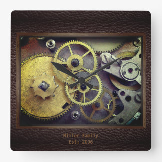Personalized Clock Gears with Leather Wall Clock