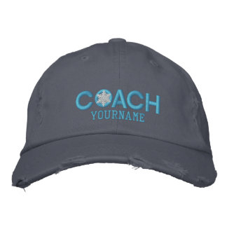 Personalized Coach Snowflake Baby Blue Embroidered Hat
