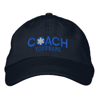 Personalized Coach Snowflake in Blue Embroidered Cap
