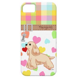 Personalized Cocker Spaniel Valentine Cartoon iPhone 5 Case