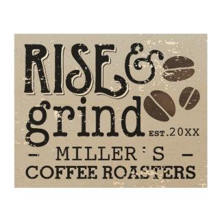 Personalized Coffee Lovers Vintage Wood Print