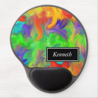 Personalized Color Waves Abstract Art Design Gel Mouse Mat