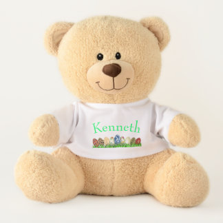 Personalized Colorful Easter Eggs in Green Grass Teddy Bear
