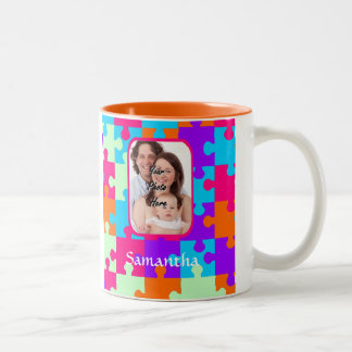 Personalized colorful jigsaw Two-Tone coffee mug