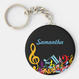 Personalized Colorful Jumbled Music Notes on Black Basic Round Button Key Ring