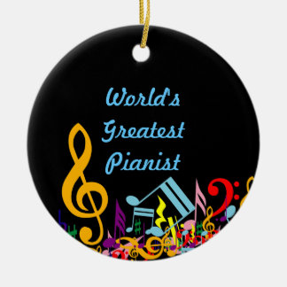 Personalized Colorful Jumbled Music Notes on Black Round Ceramic Ornament