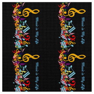 Personalized Colorful Jumbled Music Notes on Black Fabric