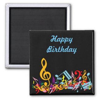 Personalized Colorful Jumbled Music Notes on Black Square Magnet