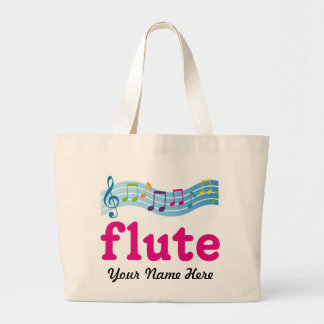 Personalized Colorful Music Staff Flute Gift Large Tote Bag