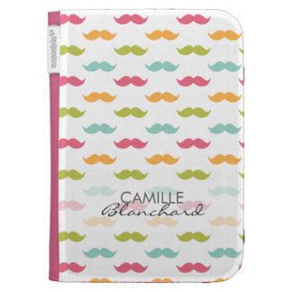 Personalized Colorful Mustache Lovers Kindle Folio Case