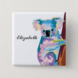 Personalized Colorful Pop Art Koala 15 Cm Square Badge