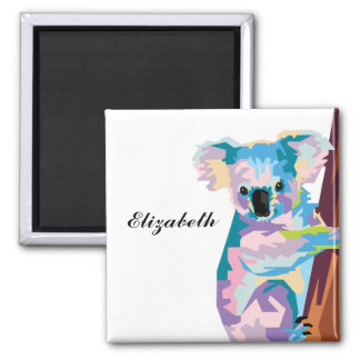 Personalized Colorful Pop Art Koala Magnet