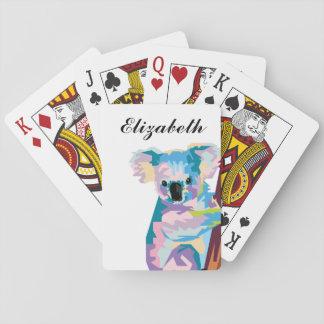Personalized Colorful Pop Art Koala Playing Cards