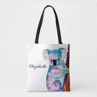 Personalized Colorful Pop Art Koala Tote Bag