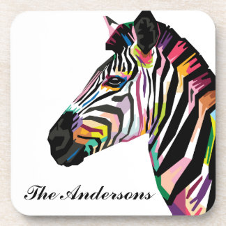 Personalized Colorful Pop Art Zebra Coaster