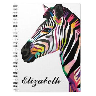 Personalized Colorful Pop Art Zebra Notebook