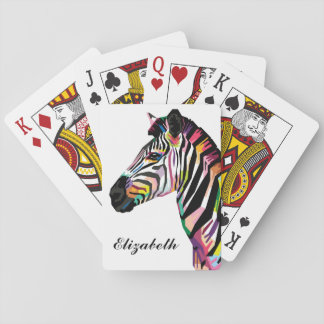 Personalized Colorful Pop Art Zebra Playing Cards
