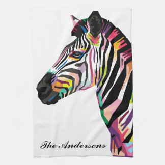 Personalized Colorful Pop Art Zebra Tea Towel