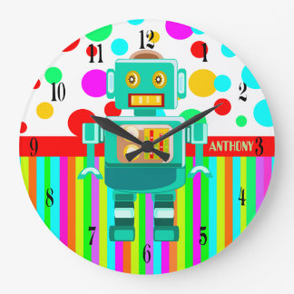 Personalized colorful robot and personal name large clock