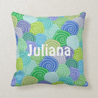 Personalized Colorful Seashell Swirls Pillow