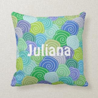 Personalized Colorful Seashell Swirls Pillow Cushion