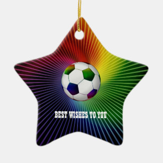 Personalized Colorful Soccer | Football Ceramic Star Decoration