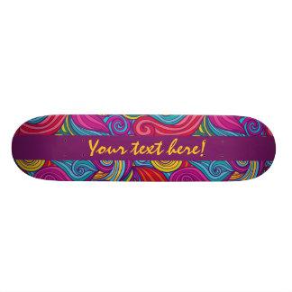 Personalized Colorful Wavy Stripe Swirls Pattern 20 Cm Skateboard Deck