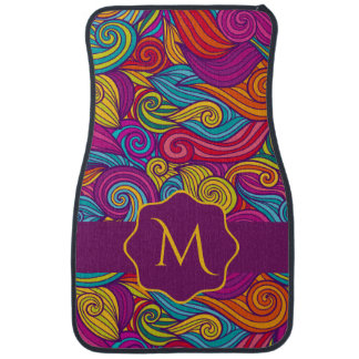 Personalized Colorful Wavy Stripe Swirls Pattern Car Mat