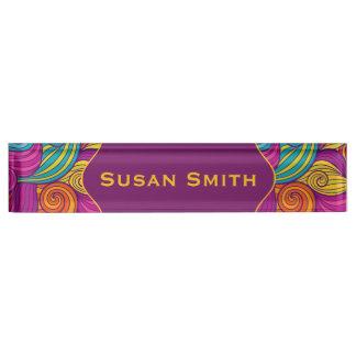 Personalized Colorful Wavy Stripe Swirls Pattern Desk Nameplates