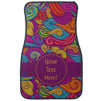 Personalized Colorful Wavy Stripe Swirls Pattern Floor Mat
