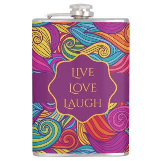 Personalized Colorful Wavy Stripe Swirls Pattern Hip Flask