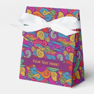 Personalized Colorful Wavy Stripe Swirls Pattern Wedding Favour Boxes